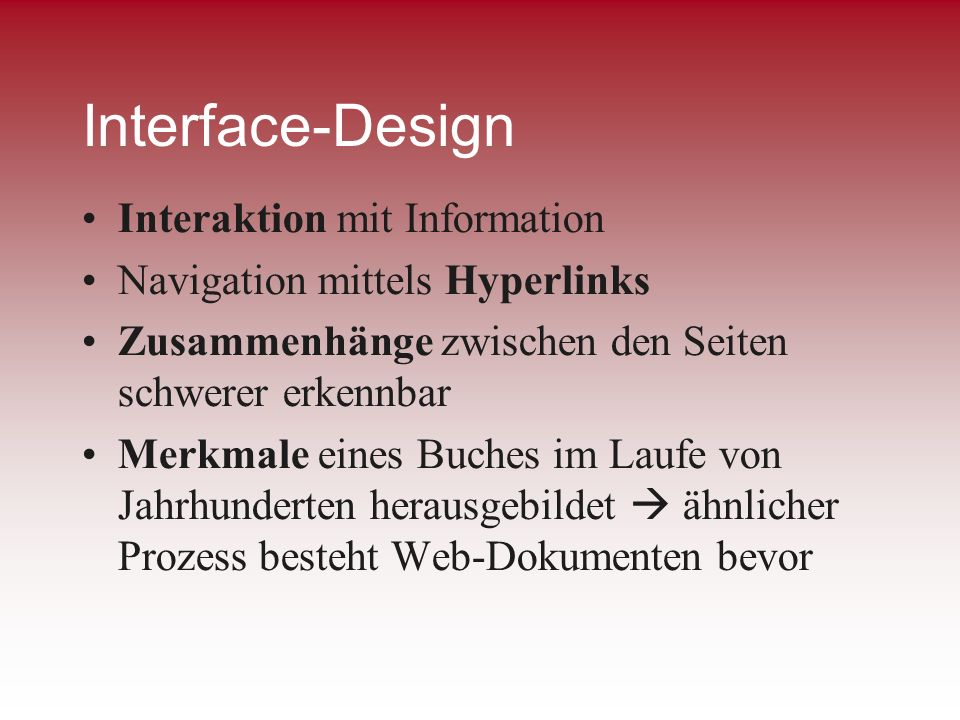 Interface-Design Interaktion mit Information