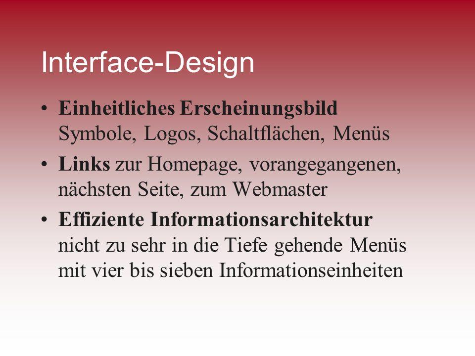 Interface-Design Einheitliches Erscheinungsbild Symbole, Logos, Schaltflächen, Menüs.