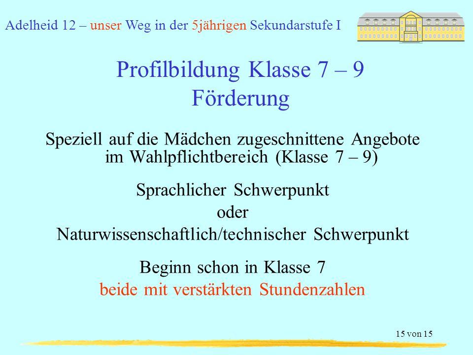 Profilbildung Klasse 7 – 9 Förderung