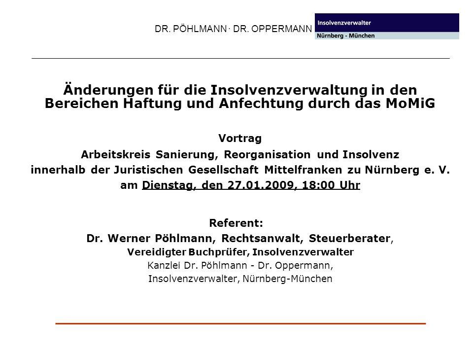 IPR DR. PÖHLMANN · DR. OPPERMANN. Änderungen für die Insolvenzverwaltung in den Bereichen Haftung und Anfechtung durch das MoMiG.