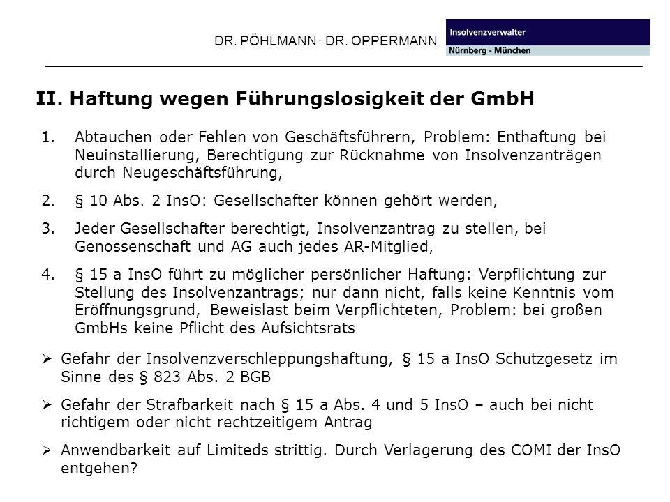 II. Haftung wegen Führungslosigkeit der GmbH