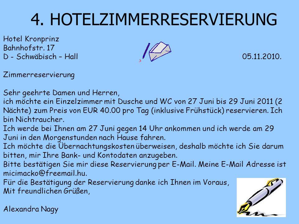 4. HOTELZIMMERRESERVIERUNG