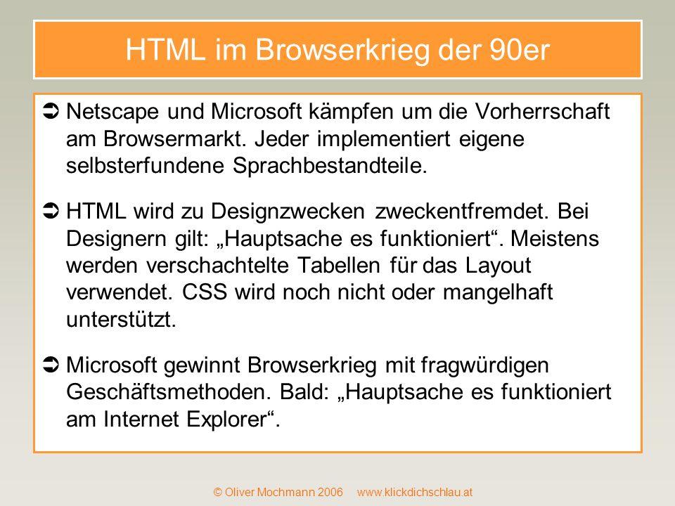 HTML im Browserkrieg der 90er