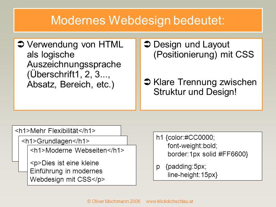 Modernes Webdesign bedeutet: