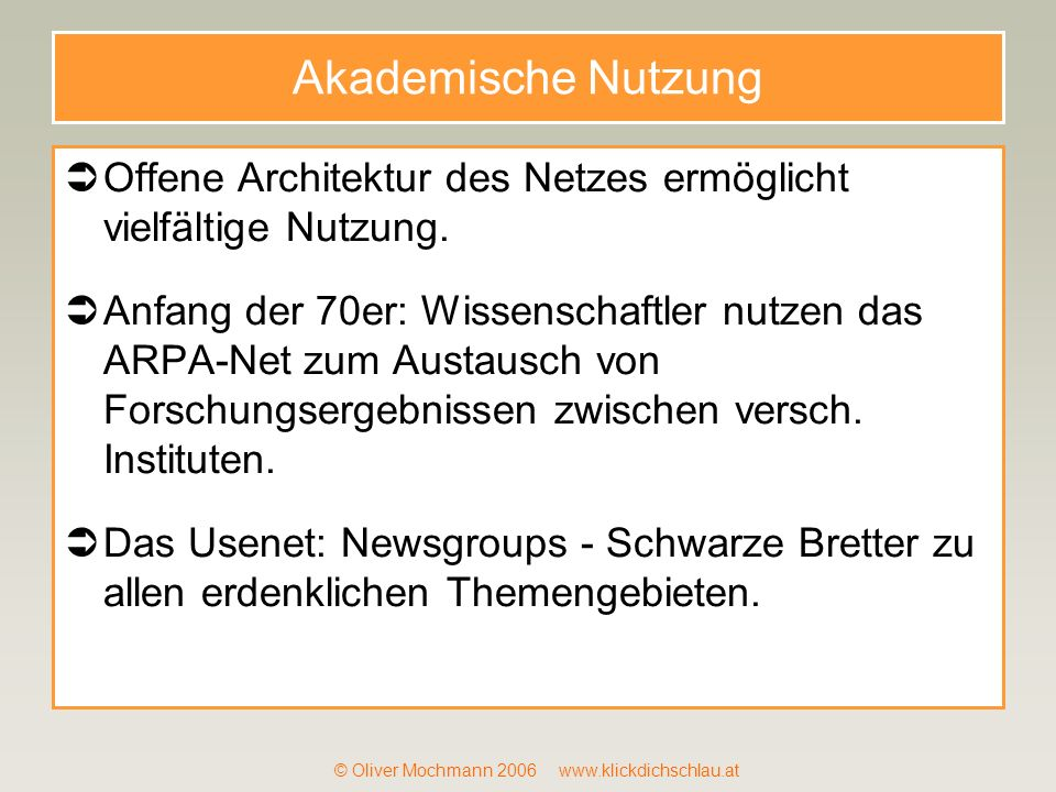 © Oliver Mochmann 2006 www.klickdichschlau.at