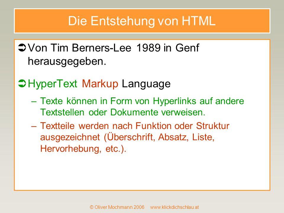 Die Entstehung von HTML