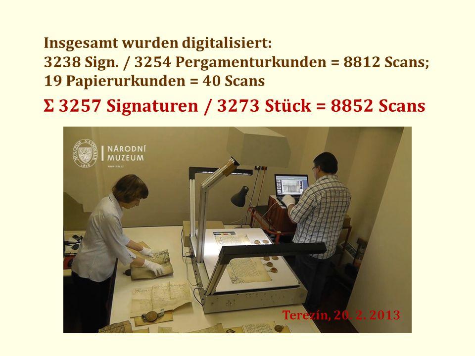 Ʃ 3257 Signaturen / 3273 Stück = 8852 Scans