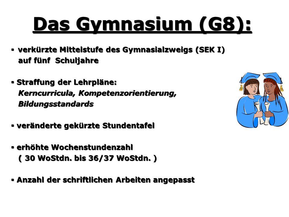 Das Gymnasium (G8): verkürzte Mittelstufe des Gymnasialzweigs (SEK I)