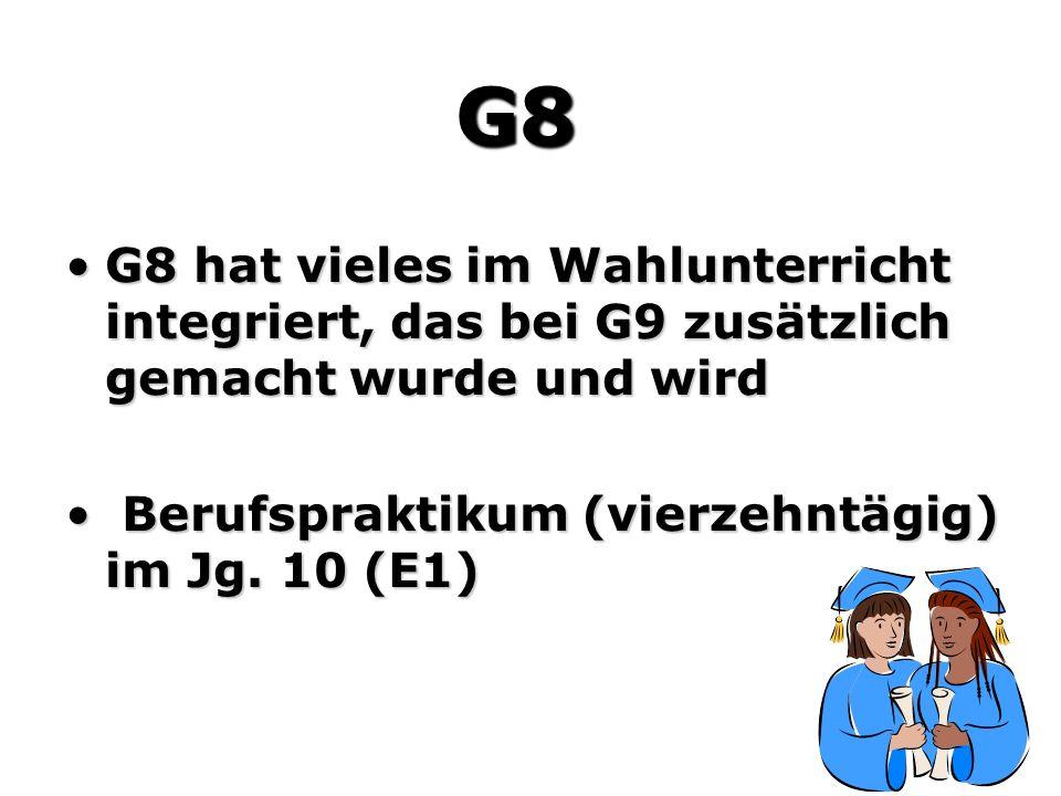 G8 G8 hat vieles im Wahlunterricht integriert, das bei G9 zusätzlich gemacht wurde und wird.