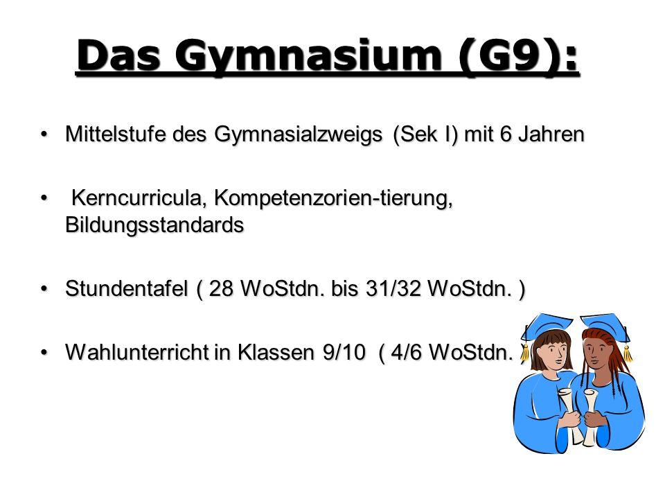 Das Gymnasium (G9): Mittelstufe des Gymnasialzweigs (Sek I) mit 6 Jahren. Kerncurricula, Kompetenzorien-tierung, Bildungsstandards.