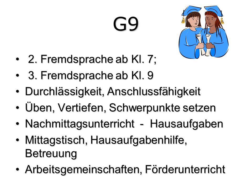 G9 2. Fremdsprache ab Kl. 7; 3. Fremdsprache ab Kl. 9