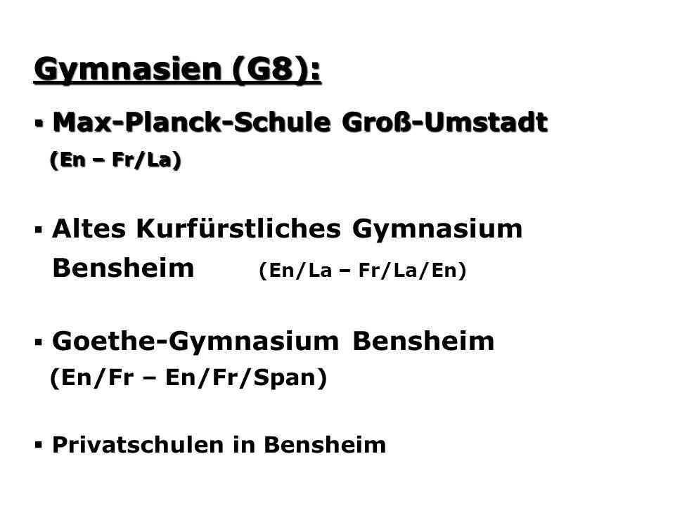 Gymnasien (G8): Bensheim (En/La – Fr/La/En)