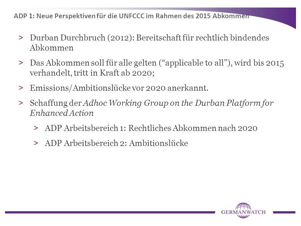 Emissions/Ambitionslücke vor 2020 anerkannt.