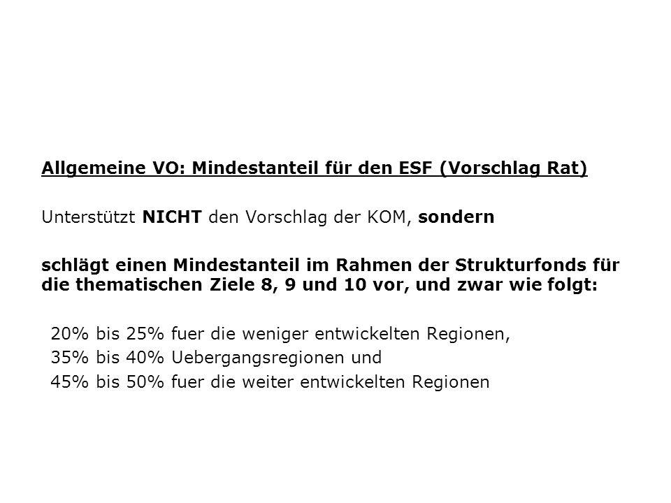 Allgemeine VO: Mindestanteil für den ESF (Vorschlag Rat)