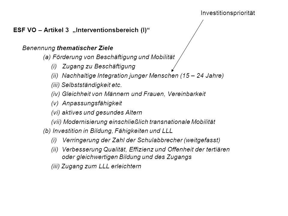 """ESF VO – Artikel 3 """"Interventionsbereich (I)"""