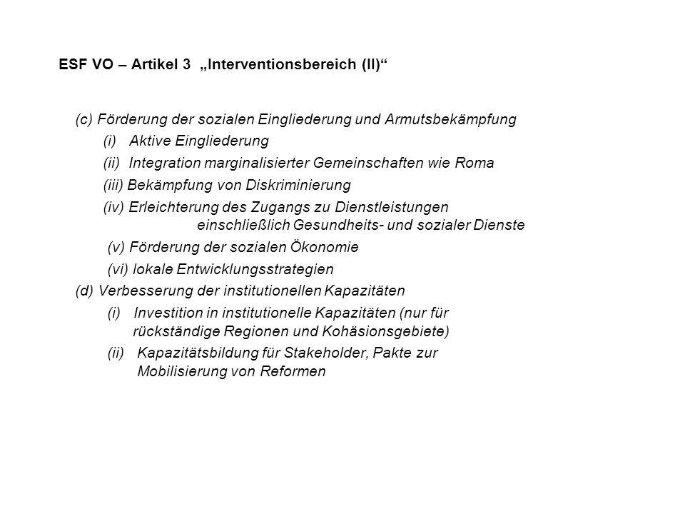 """ESF VO – Artikel 3 """"Interventionsbereich (II)"""