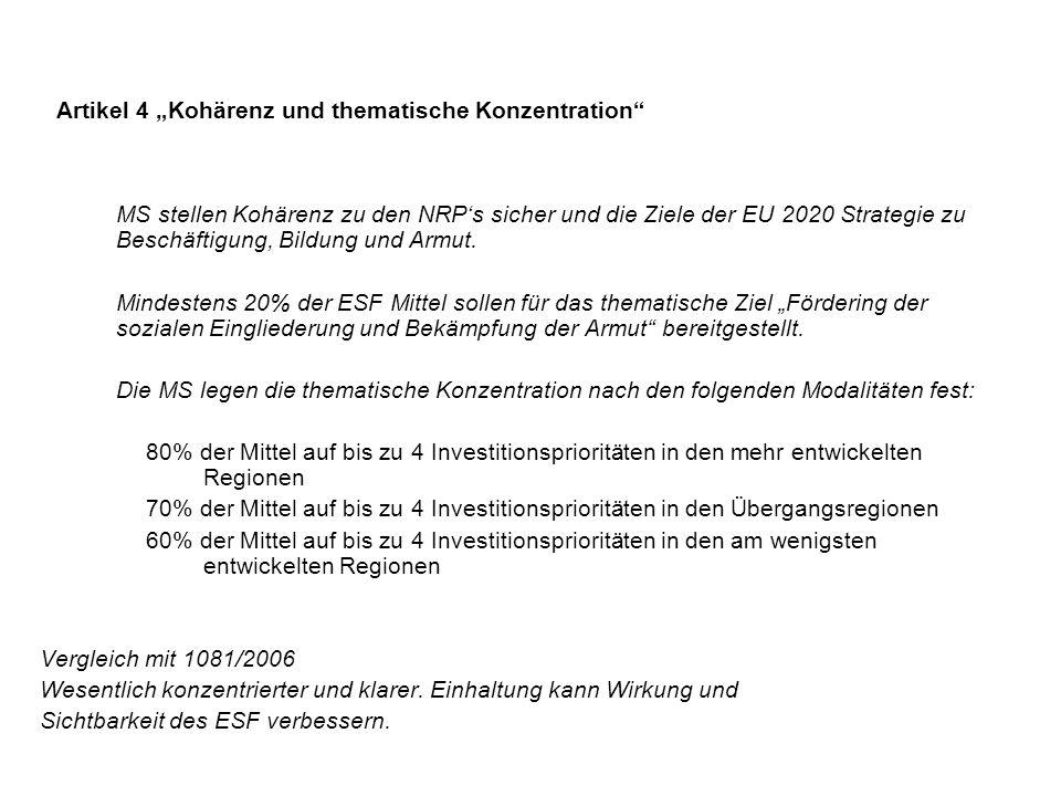 """Artikel 4 """"Kohärenz und thematische Konzentration"""