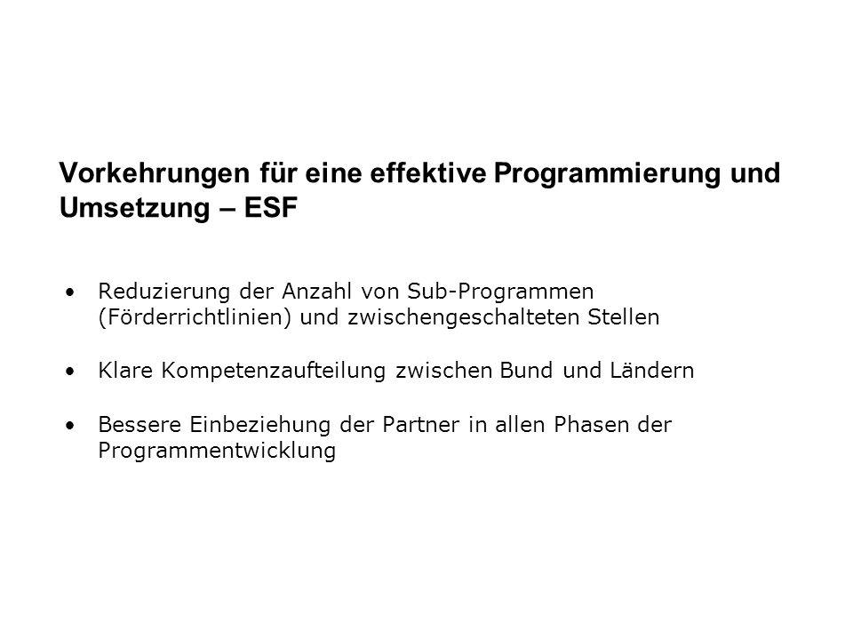 Vorkehrungen für eine effektive Programmierung und Umsetzung – ESF