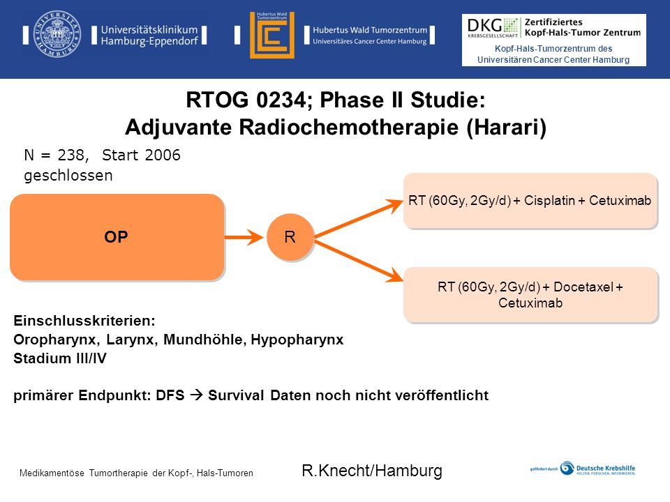 RTOG 0234; Phase II Studie: Adjuvante Radiochemotherapie (Harari)