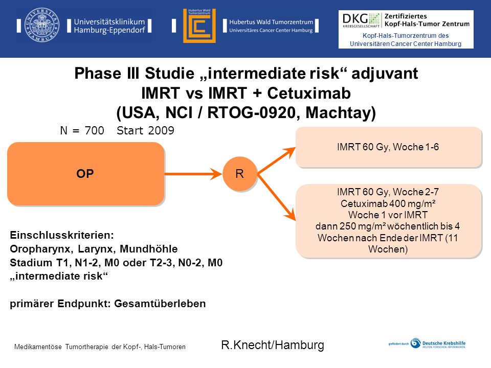"Phase III Studie ""intermediate risk adjuvant IMRT vs IMRT + Cetuximab (USA, NCI / RTOG-0920, Machtay)"