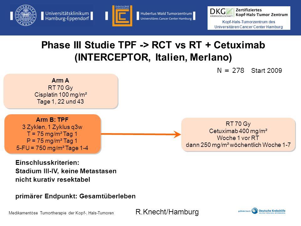 Phase III Studie TPF -> RCT vs RT + Cetuximab (INTERCEPTOR, Italien, Merlano)
