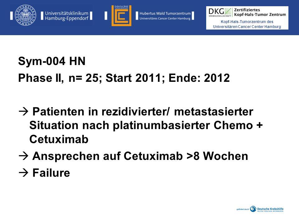Sym-004 HN Phase II, n= 25; Start 2011; Ende: 2012. Patienten in rezidivierter/ metastasierter Situation nach platinumbasierter Chemo + Cetuximab.