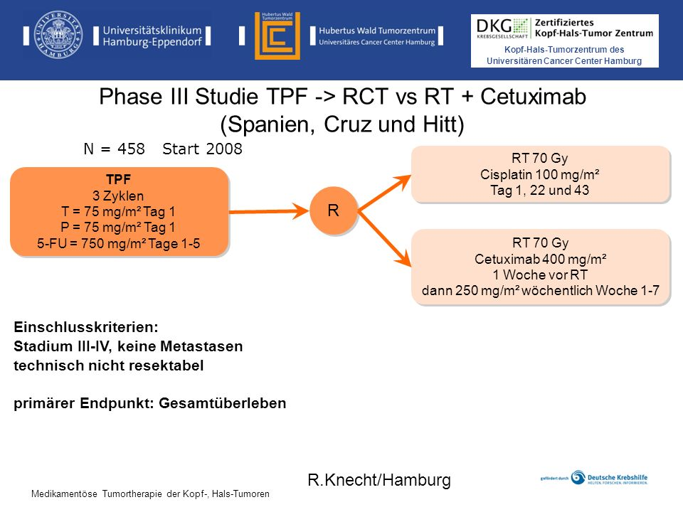 Phase III Studie TPF -> RCT vs RT + Cetuximab (Spanien, Cruz und Hitt)