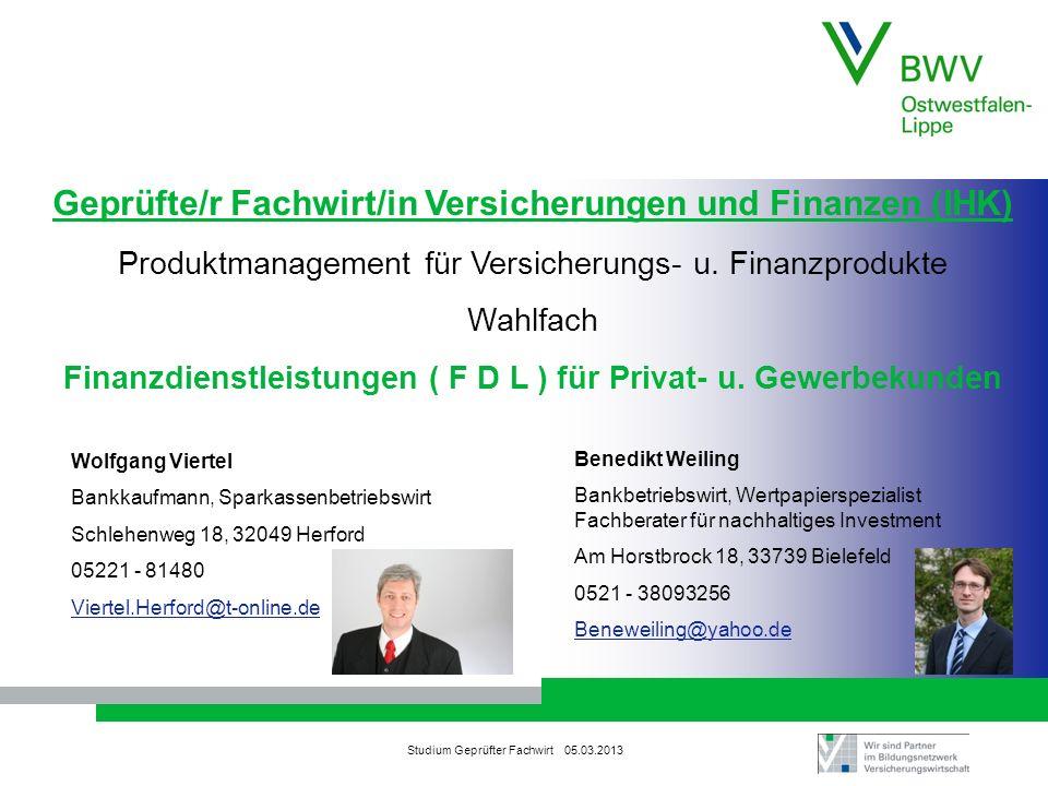 Geprüfte/r Fachwirt/in Versicherungen und Finanzen (IHK)