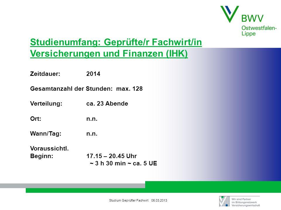 Studienumfang: Geprüfte/r Fachwirt/in Versicherungen und Finanzen (IHK)