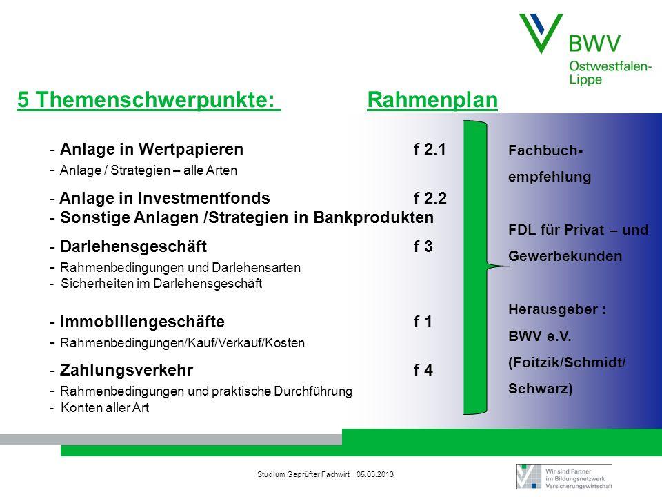 5 Themenschwerpunkte: Rahmenplan
