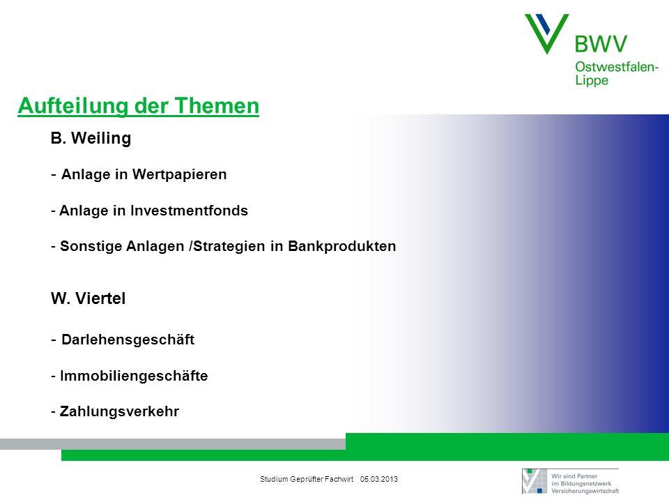 Aufteilung der Themen B. Weiling Anlage in Wertpapieren W. Viertel
