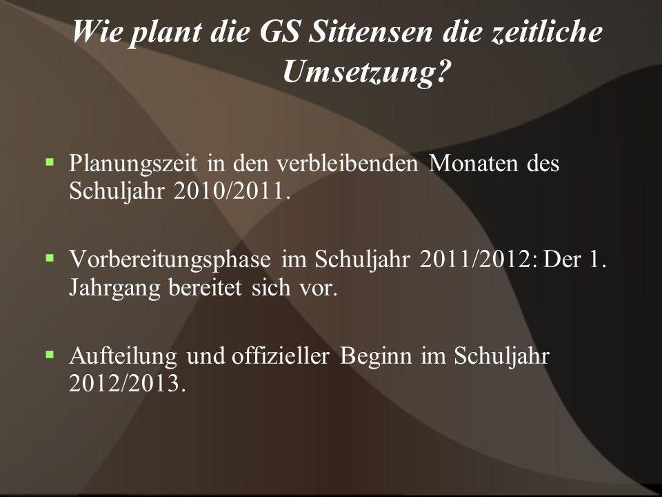 Wie plant die GS Sittensen die zeitliche Umsetzung