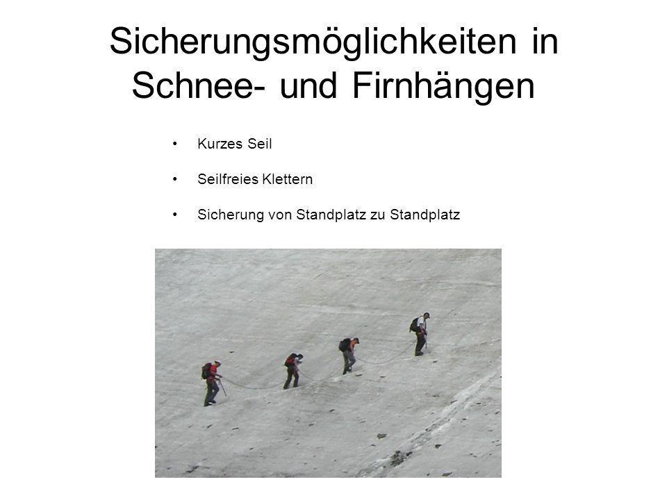 Sicherungsmöglichkeiten in Schnee- und Firnhängen