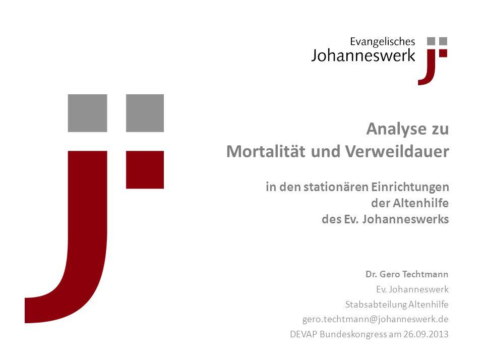 Analyse zu Mortalität und Verweildauer in den stationären Einrichtungen der Altenhilfe des Ev. Johanneswerks