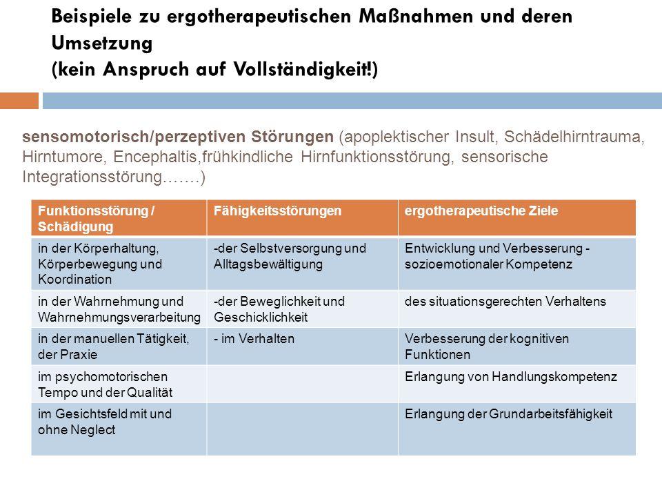 Beispiele zu ergotherapeutischen Maßnahmen und deren Umsetzung (kein Anspruch auf Vollständigkeit!)