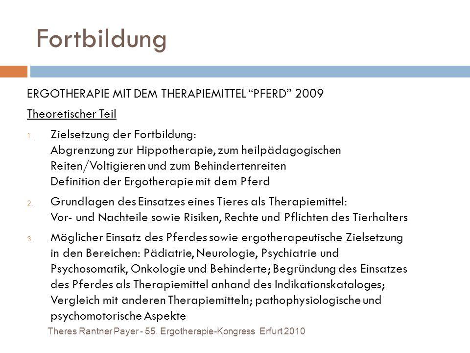 Fortbildung ERGOTHERAPIE MIT DEM THERAPIEMITTEL PFERD 2009