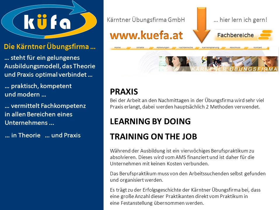 k ü f a www.kuefa.at PRAXIS LEARNING BY DOING TRAINING ON THE JOB
