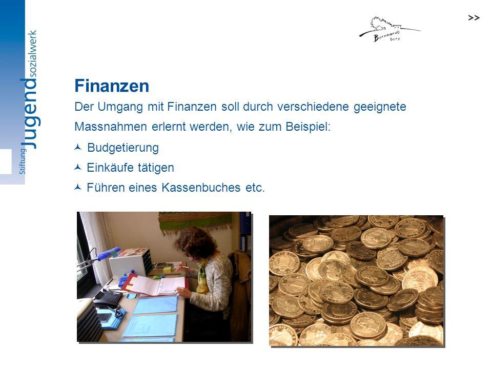 >> Finanzen. Der Umgang mit Finanzen soll durch verschiedene geeignete Massnahmen erlernt werden, wie zum Beispiel: