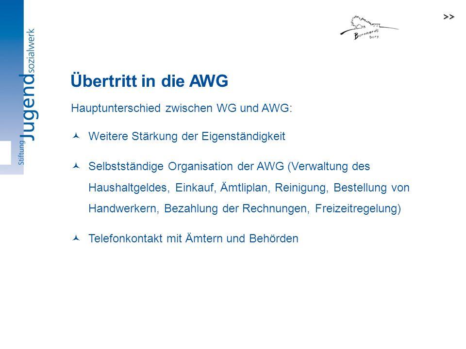 Übertritt in die AWG Hauptunterschied zwischen WG und AWG: