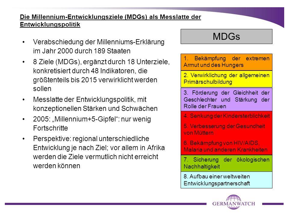 Die Millennium-Entwicklungsziele (MDGs) als Messlatte der Entwicklungspolitik