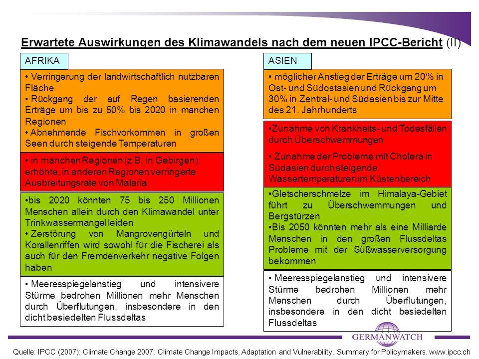 Erwartete Auswirkungen des Klimawandels nach dem neuen IPCC-Bericht (II)