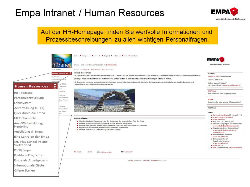 Empa Intranet / Human Resources