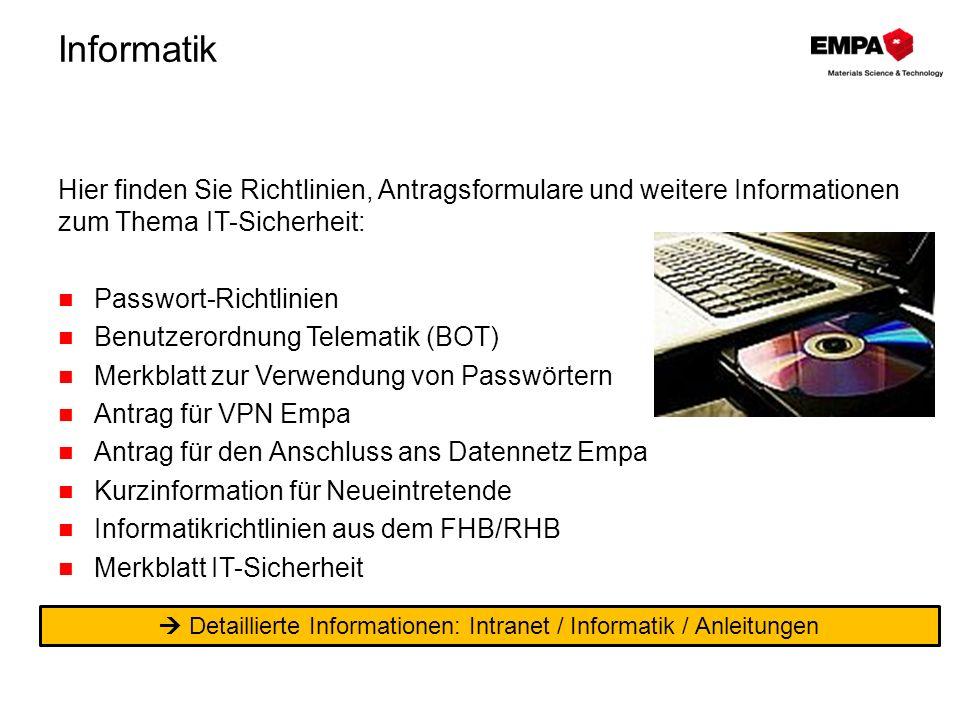  Detaillierte Informationen: Intranet / Informatik / Anleitungen