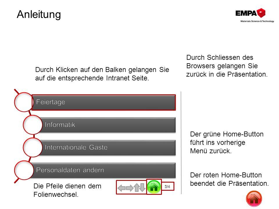 Anleitung Durch Schliessen des Browsers gelangen Sie zurück in die Präsentation. Durch Klicken auf den Balken gelangen Sie.