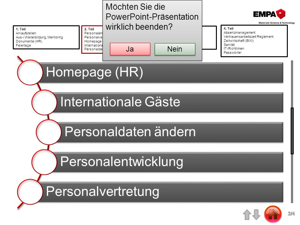 Homepage (HR) Internationale Gäste Personaldaten ändern