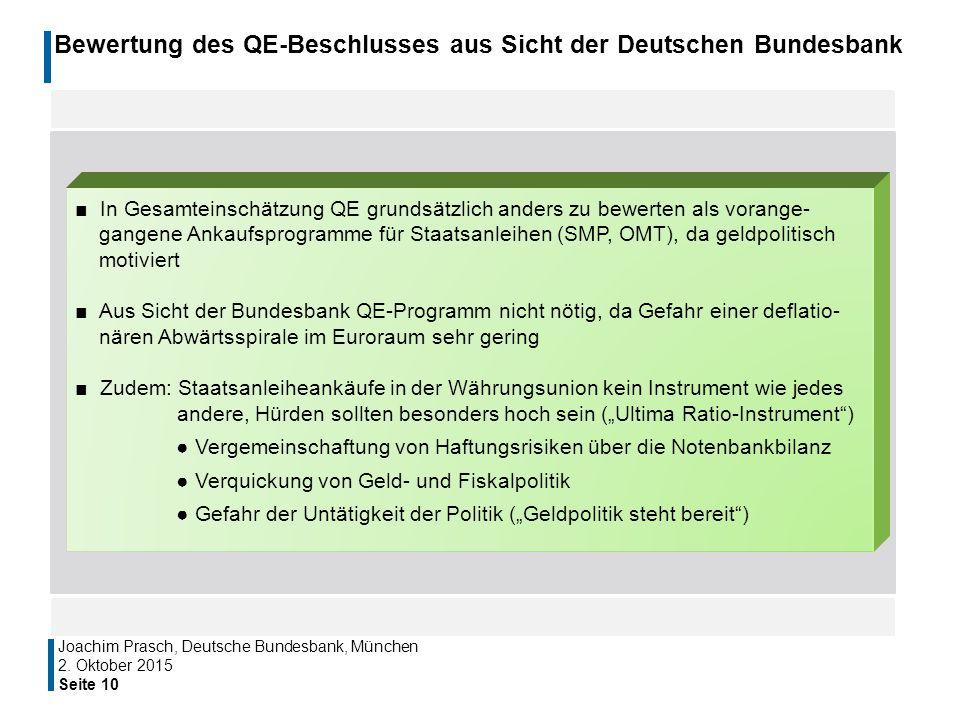 Bewertung des QE-Beschlusses aus Sicht der Deutschen Bundesbank
