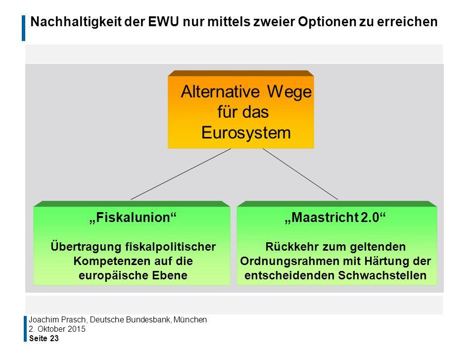 Nachhaltigkeit der EWU nur mittels zweier Optionen zu erreichen