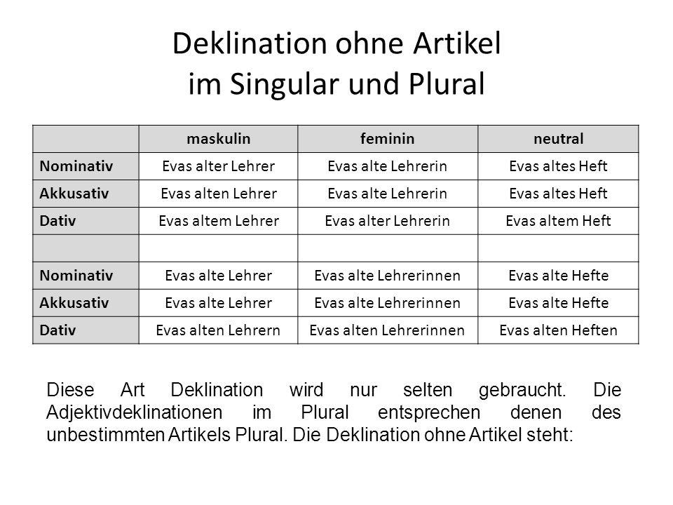 Deklination ohne Artikel im Singular und Plural