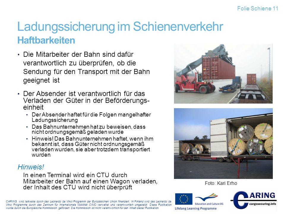 Ladungssicherung im Schienenverkehr Haftbarkeiten