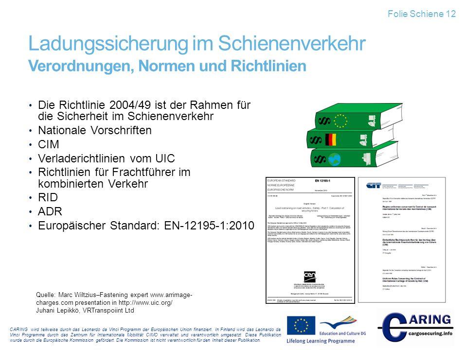 Folie Schiene 12 Ladungssicherung im Schienenverkehr Verordnungen, Normen und Richtlinien.